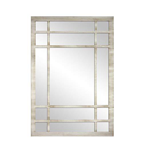 Espejo Ventana Fabricado en España – Medida (70x100 cm) Mod-Romeo | Acabado Artesanal – Espejo de Pared Ideal para Salón, Recibidor, Vestidor, Dormitorio y Baño. (Blanco Envejecido)
