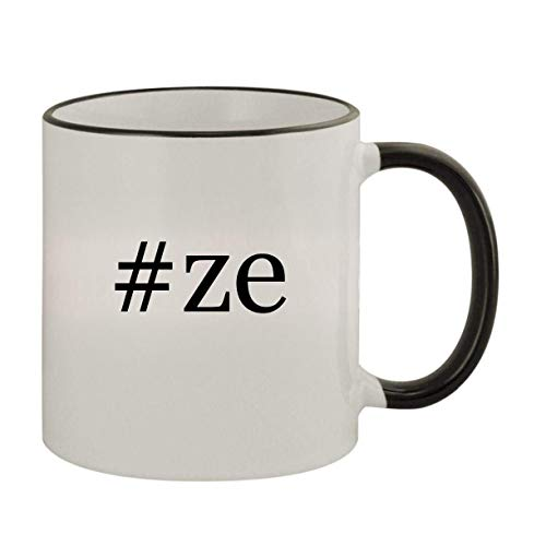 #ze - 11oz Ceramic Colored Rim & Handle Coffee Mug, Black