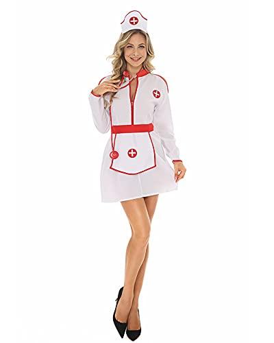 YTRDKJSW Lencería Sexy De Enfermera para Mujer, Cosplay De Halloween Uniformes De Vestido De Enfermera Mujeres Adultos Enfermera Traviesa Disfraz De Médico Trajes De Cosplay De Mucama,Meduim White
