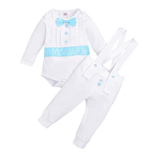 Baby Boy Battesimo Abiti Gentleman Smoking Papillon Pagliaccetto Bodysuit+Bretelle Pantaloni 2 PZ Battesimo Abito Da Sposa Formale, Manica lunga blu., 18 mesi