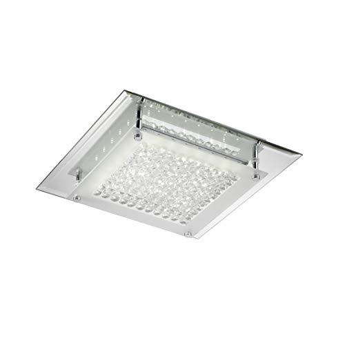 ONLI Plafoniera LED Integrato 18W 4000K Moderna con Base a Specchio, Vetro e Cristalli, Cromato,, vetro;specchio;metallo;cristallo