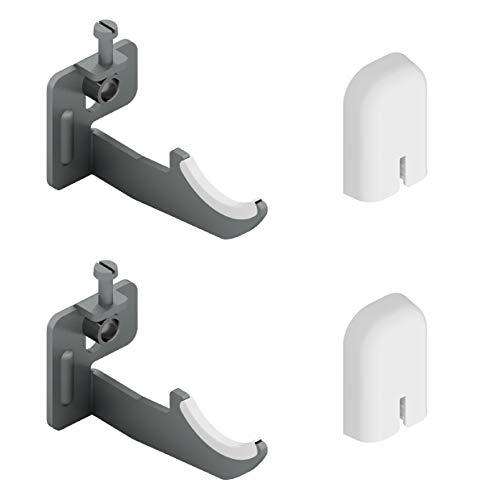 1 par de soportes de pared para radiadores de aluminio con ajuste vertical - tapa en ABS blanco y aislantes de plástico - carga máxima 50 kg por fijación - 2 piezas