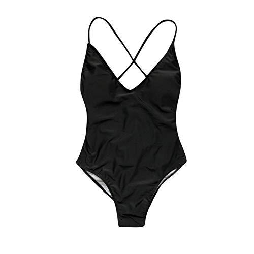 YLLQXI Women Sexy Solid Push Up High Cut Lace Up Halter Bikini Set One Piece Swimwear