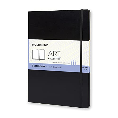 """Moleskine Art Plus Hard Cover Sketchbook, Plain, A4 (8.25"""" x 11.75"""") Black - Sketch Pad for Drawing, Watercolor Painting, Sketchbook for Teens, Artists, Students"""