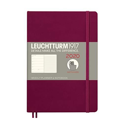 Wochenkalender & Notizbuch 2020 Softcover Medium (A5), 12 Monate, Port Red, Englisch