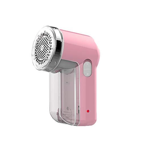 Quitapelusas recargable con 3 cuchillas giratorias para eliminar pelusas, pelusa y polvo, color rosa
