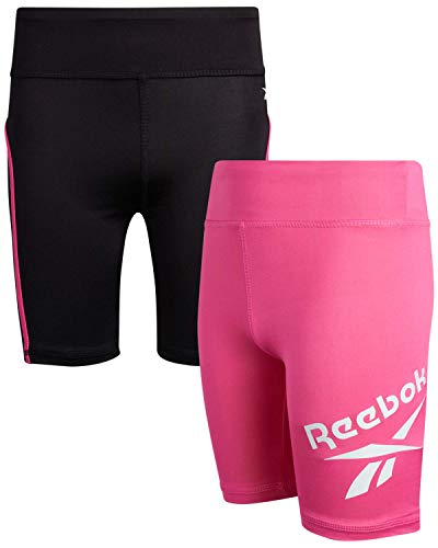Reebok Girls Active Shorts - Spandex Athletic High Waisted Gym Workout Yoga Bike Shorts (2 Pack), Size Medium/(8-10), Black/Hot Pink