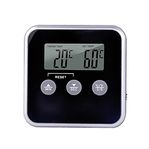 Termómetro de cocina digital para barbacoa, 39'sondas de longitud de lectura instantánea de 39' Termómetro de alimentos de lectura con pantalla LCD y temporizador de reloj para azúcar Ajuste Agua Can