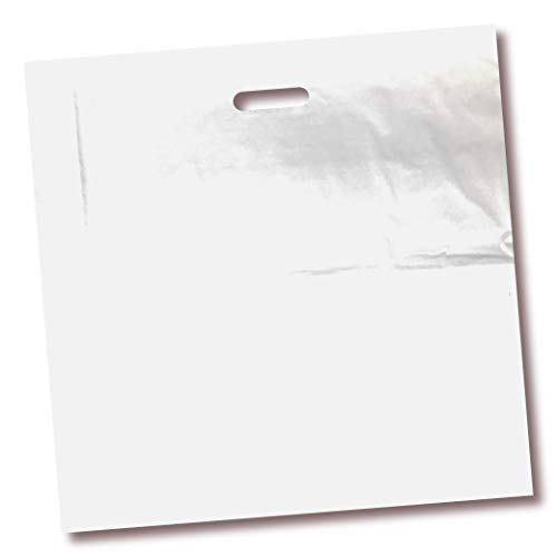 100 Pack 20' x 20' with 2 mil Thick Extra Large White Merchandise Plastic Glossy Retail Bags | Die Cut Handles | Perfect for Shopping, Large Packages, Children Toys | Color White | 100% Recyclable
