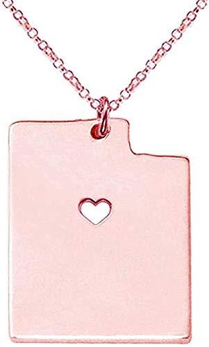 Collar Collar del estado de Utah Collares de corazón Colgante de mapa de Utah Collar de acero inoxidable Collar de estilo veraniego Collar de joyería para mujer