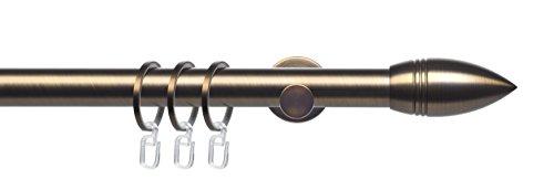 Liedeco Komplettgarnitur, Stilgarnitur, Gardinenstange, Innenlaufgarnitur 25 mm Ø | Endstück Bullet Celtic | Bronze (200 cm / 1-läufig)