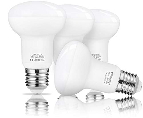 E27 LED Warmweiss Lampe, Dimmbar R63 7W 3000K, Ersatz 60 Watt leuchtmittel, Reflektorlampe Glühbirne, E27-Sockel 230V 700 Lumens 4 Stück