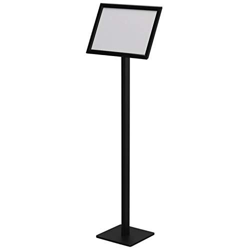 スナップ案内板 透明カバー付き インフォメーションボード スタンド 回転 飲食店 (ブラック, A4)