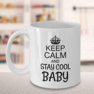 DKISEE Taza de café Gears of War con texto en inglés'Keep Calm and Stay Cool', de cerámica blanca, para Navidad, Día de Acción de Gracias, regalo para amigos, cerámica, blanco, 15oz