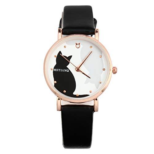 UKCOCO Relojes de Mujer de Dibujos Animados Encantador Patrón de Gato Reloj de Pulsera de Cuero Reloj de Cuarzo para Mujeres Damas Niñas