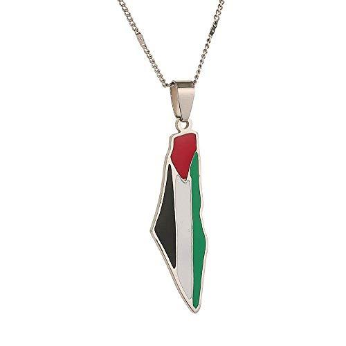 QUWE Karte Kette,Vintage Silber Farbe Palästina Karte Emaille Charme Anhänger Amulett Land Souvenir Schmuck Geschenk Für Männer Frauen Vatertagsgeschenk