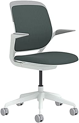 Steelcase Cobi Arm Chair with White Base & Standard Carpet Casters, Graphite