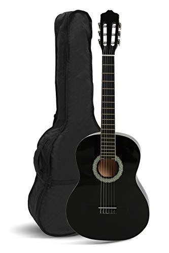 NAVARRA Konzertgitarre 1/2 schwarz mit cremefarbenen Randeinlagen und leicht gepolsterter Tasche mit Rucksackriemen und Notenfach, 2 Plektren
