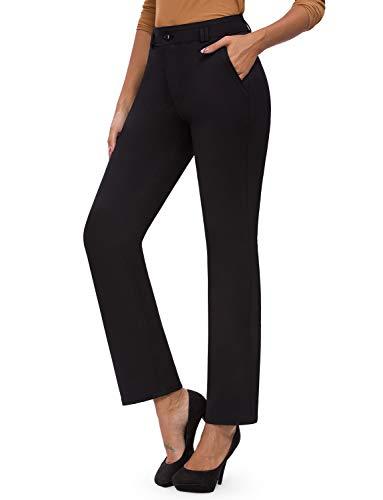 Bamans Elegante Hosen Damen Straight Bein Stretch Anzughose Lang Lockere Stoffhose Hoher Bund Bleistifthosen Große Größen Schwarz M
