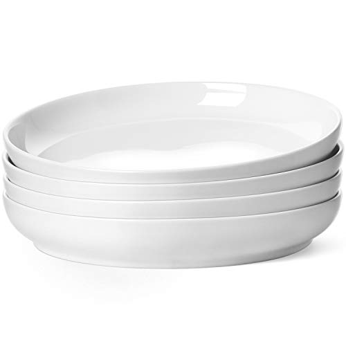 LE TAUCI Dinner Plate 9 inch,Ceramic Salad plate sets for Pasta Risotto Fluffiest Pancakes set of 4 Oyster white