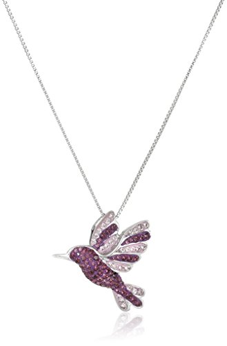 Sterling Silver Purple Humming Bird with Swarovski Elements Pendant Necklace, 18'