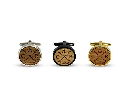 Manschettenknöpfe mit Gravur aus Holz personalisiert mit Initialien und Datum, Geschenk für Bräutigam, Schwarz, Gold mit Holz Nussbaum, Kirschbaum, Eiche