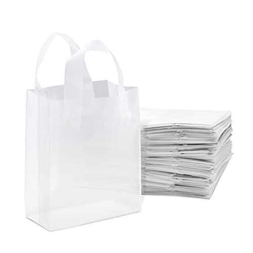 Small Clear Plastic Bags with Soft Loop Handles, Shopping Bags with Gusset & Cardboard Bottom, Frosted White Merchandise Retail Bags for Gifts, Boutiques, Small Business, Parties, Events, Bulk 100 Pcs – 8x4x10