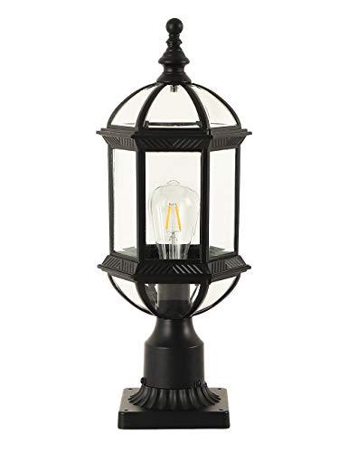 GYDZ Exterior Post Light Fixtures,Outdoor Post Lanterns with Pier Mount Adapter, Modern Exterior Post Lamp Aluminum Housing with Bevel Clear Glass, Matte Black