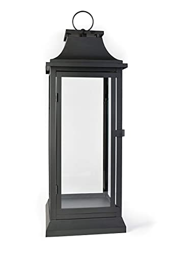 Serene Spaces Living Black Hurricane Lanterns With Clear Glass Panels, Perfect For Home Decor,...