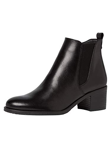 Tamaris Damen Stiefeletten, Frauen Chelsea Boots, hoch weiblich Lady Ladies Women's Women Woman Business geschäftsreise büro,Black,40 EU / 6.5 UK