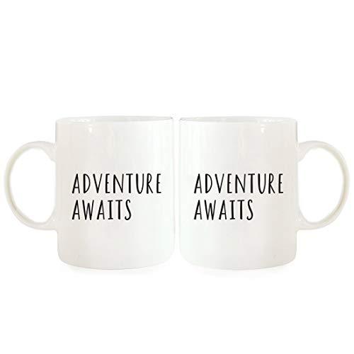 Jopath Juego de tazas de café de cerámica de 325 ml, para el día de San Valentín, aniversario de boda, parejas, Love You More, Love You Most, paquete de 2, ideas de regalo de larga distancia