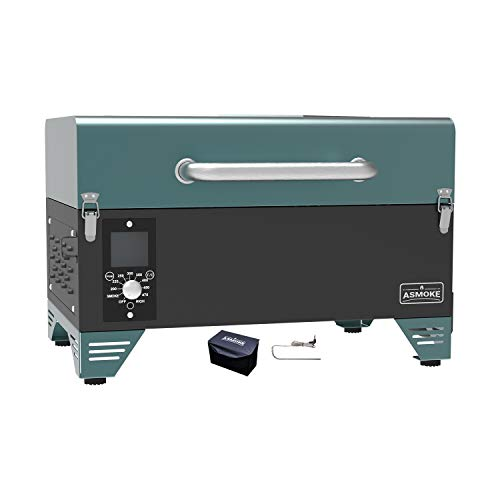 ASMOKE AS300 Electric Portable Wood Pellet Tailgating tabletop Grill and Smoker w/ Waterproof Cover and Stainless Steel Meat Probe,256 Sq. in. Cooking Area,8 in 1 BBQ Set,PID Control, Pine Green