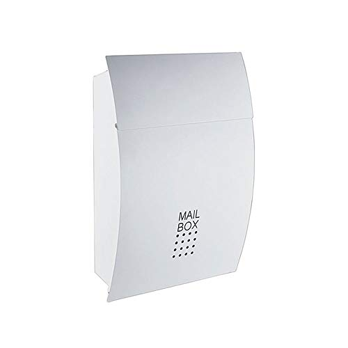 Byx- Mailbox - High Security Steel Locking Wall Mounted Mailbox - Office Drop Box - Comment Box - Brievenbus - Stortdoos, zwart, wit Afmeting: 45,5x5x37cm -brievenbus