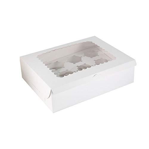 10 cajas de tarta, 6 agujeros de embalaje, para transportar con ventana de visualización, transparente para hornear magdalenas y pasteles