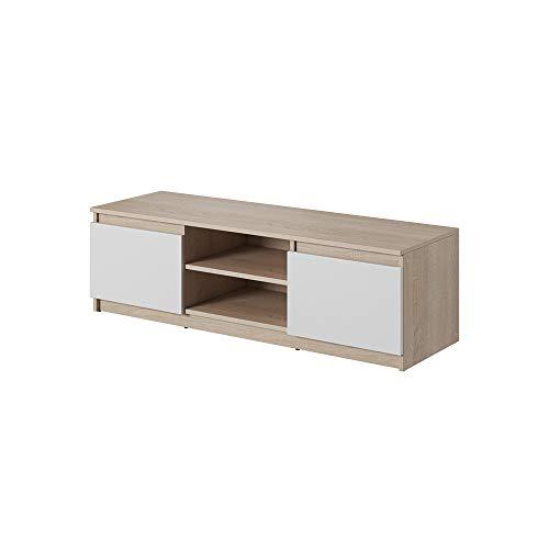 Selsey TV-Lowboard, Sonoma Eiche/Weiß Matt, 120 x 35,5 x 38