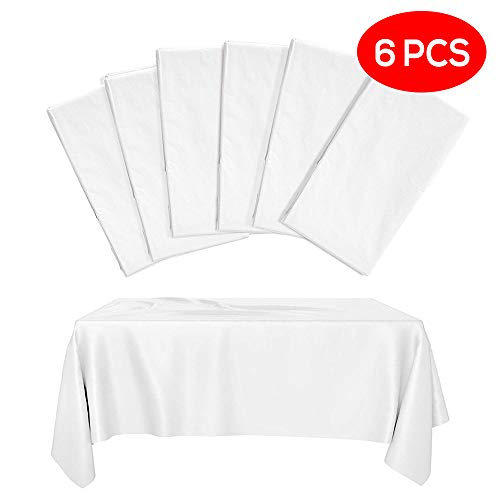 6 Weiße Einweg Tischdecken aus Kunststoff, Rechteckige Plastiktischdecke, Halbtransparent Partytischdecken, Tischabdeckung 275x135cm - Elegant & Wasserdicht| Catering Partys Geburtstage Hochzeiten