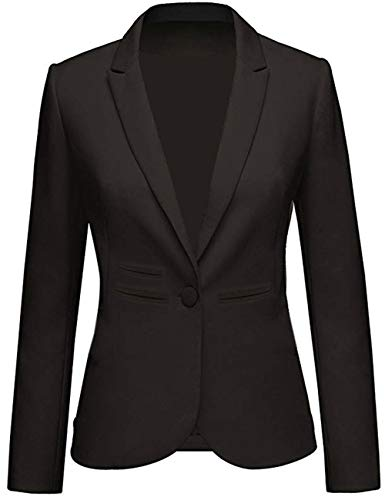 Lrady Women's Casual Work Notched Lapel Pocket Button Office Blazer Jacket Suit, Black, Small