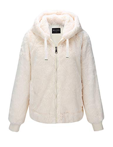 Bellivera Women's Faux Fur Jacket with 2 Side-Seam Pockets, The Coat with Hood 1712014 White XS