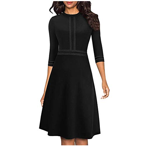 Fantastic Deal! Women's Work Swing Dress - Ladies Elegant Half Sleeve Aline Dresses - Casual High Wa...
