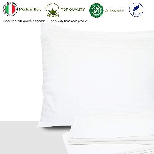 Giovanni Dolcinotti Bed Collection Classic | Set 2 Federe Cuscino 50x80 cm - Made in Italy 100%, Cotone, Rigato Bianco