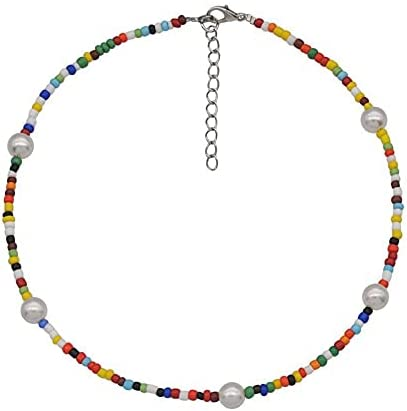 wllbdw Choker Bohemian Summer Ladies Soft Clay Necklace Imitation Pearl Collar Necklace Colorful Beach Fashion Jewelry Choker Necklaces for Women (Cor do Metal : 1pcs)