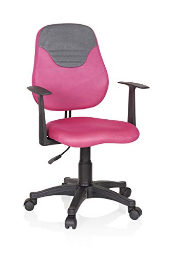HJH OFFICE 670937 kinder- en jeugddraaistoel KIDDY Style stof roze/grijs draaistoel meegroeiend