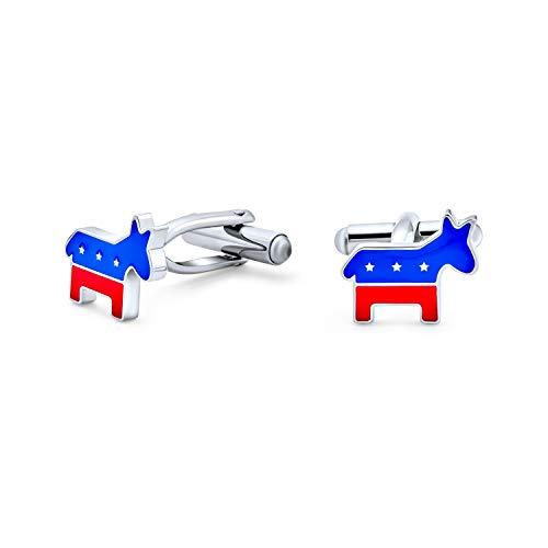 Patriotique Américain USA Rouge Blanc Bleu Animal Âne Chemise Boutons De Manchette Hommes Parti Démocrate Symbole Leader Politique Acier Inoxydable Ém