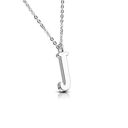 Bungsa® Buchstabe J Halskette Silber - Buchstaben-ANHÄNGER J Kette - Alphabet Kette für Frauen & Männer - aus Edelstahl - Schmuck für Jungen & Mädchen
