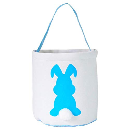 Bolsa de transporte de Pascua, cesta de huevos para niños, lona de algodón, caramelos, cesta de huevos, conejos, impresión, cubo con cola esponjosa, regalos para Pascua