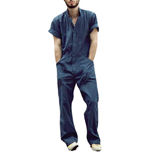 Maglietta Frutaccialo da Lavoro da Uomo a Maniche Corte Tuta da Lavoro Allentata Casual Tinta Unita Pantaloni Sportivi da Strada (Blu, M)