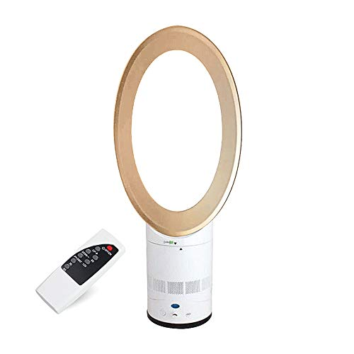LILYKASURE Ventilador sin aspas, ventilador silencioso con mando a distancia, ventilador de pie, ventilador de pie, ruido bajo ventilador sin pálido ovalado dorado