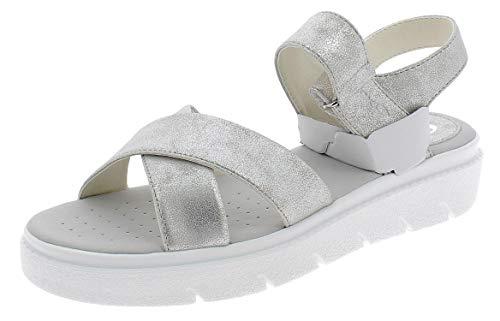 Geox Tamas D92DLE Mujer Sandalias de Vestir,Plataforma Sandalias,fémina Sandalia de la Plataforma,Zapatos de Verano,Sandalia Verano,cómoda Suela,Suela Gruesa,Blanco,38 EU