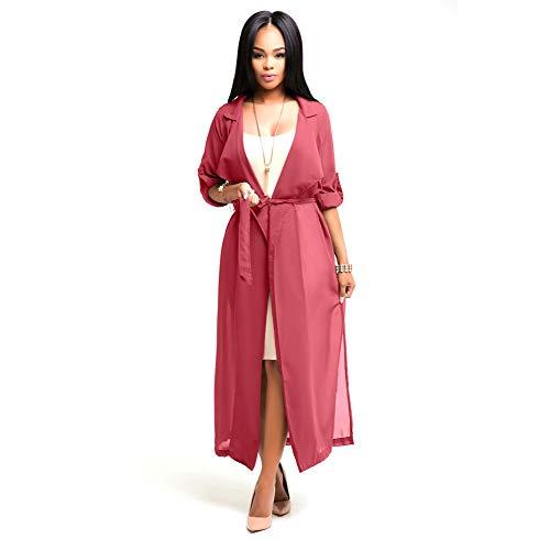 YYH Dames lange gebreide jas vooraan open waterval lichte lange mouwen dames cardigans-strandjurk X-Large rood