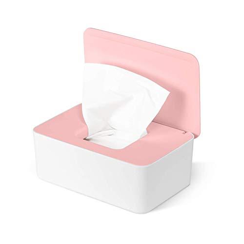 Box für Feuchttücher, Aufbewahrungsbox, Reinigungstücher, Box aus Kunststoff, Stoff (Rosa + Weiß)